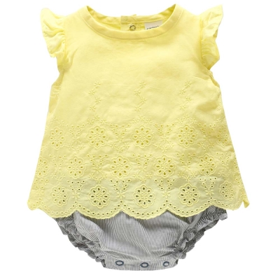 Carters 美國 黃色蕾絲雕花假兩件短袖包屁衣連身衣