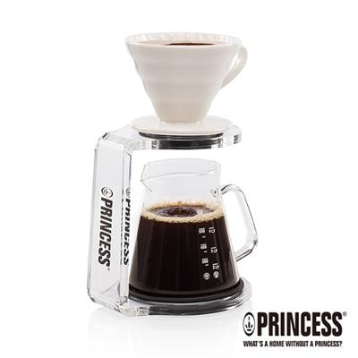 PRINCESS荷蘭公主手沖陶瓷單孔螺旋濾杯+咖啡壺組(附手沖架)241100S
