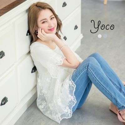 東京著衣-yoco 花語女孩刺繡蕾絲網布圓領上衣-S.M.L(共二色)