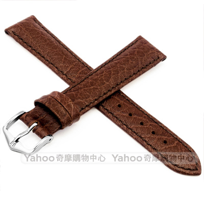 海奕施 HIRSCH Highland L 仿舊真皮革錶帶 防水可清洗 柔軟舒適-棕