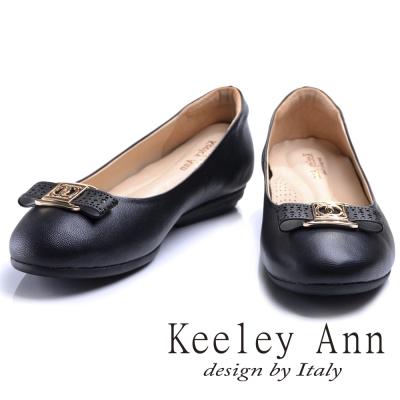 Keeley Ann簡約美學~圓點鏤空蝴蝶結OL全真皮平底娃娃鞋(黑色)