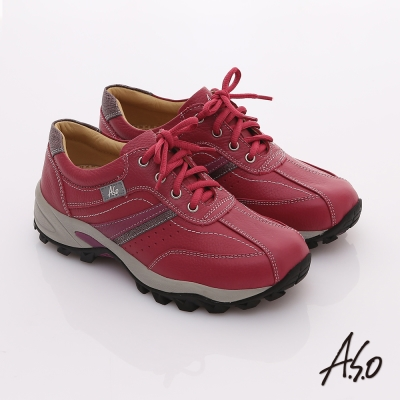 A.S.O 前彈性後避震 牛軟皮綁帶奈米休閒鞋 桃粉紅