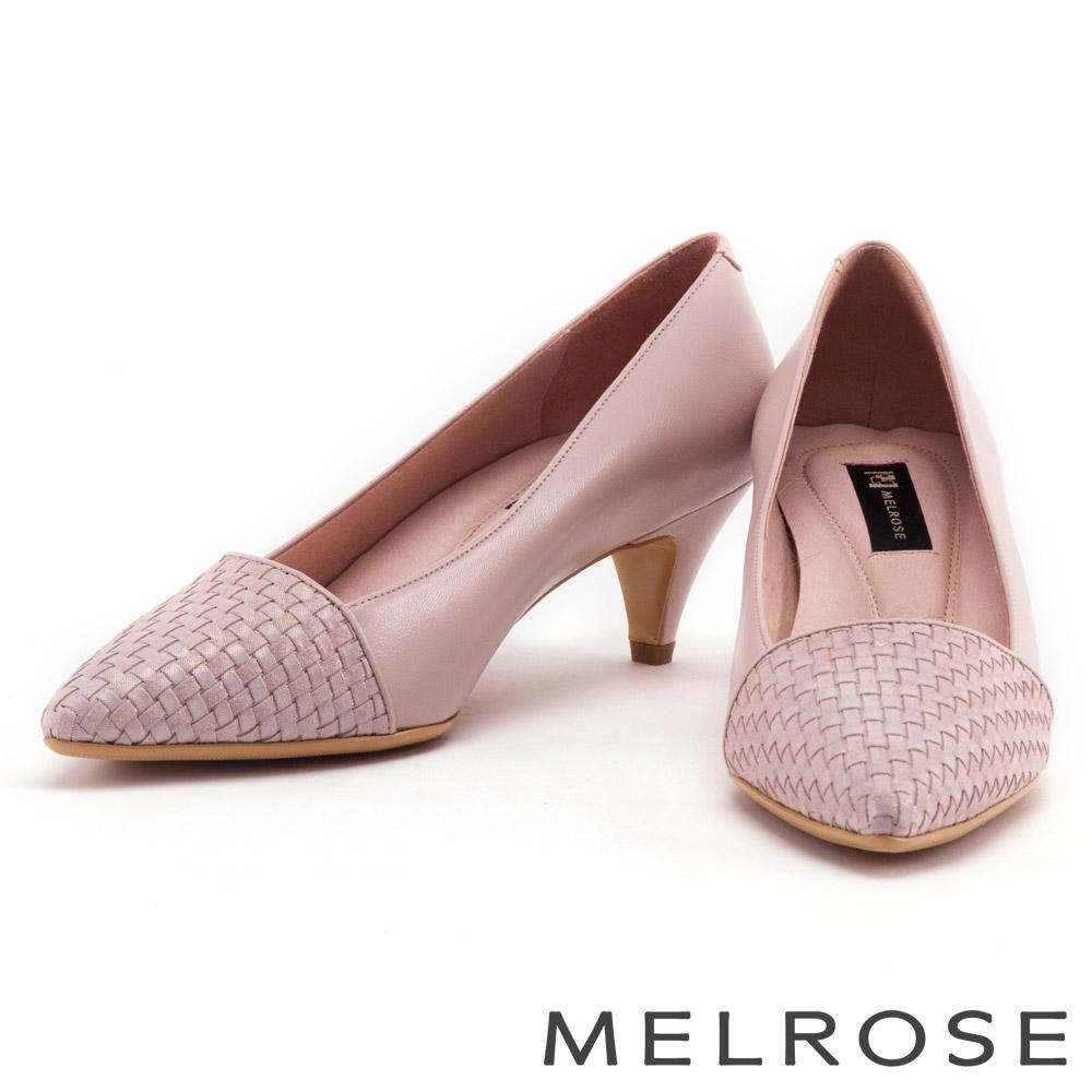 跟鞋 MELROSE 簡約編織異材質尖頭低跟鞋-粉