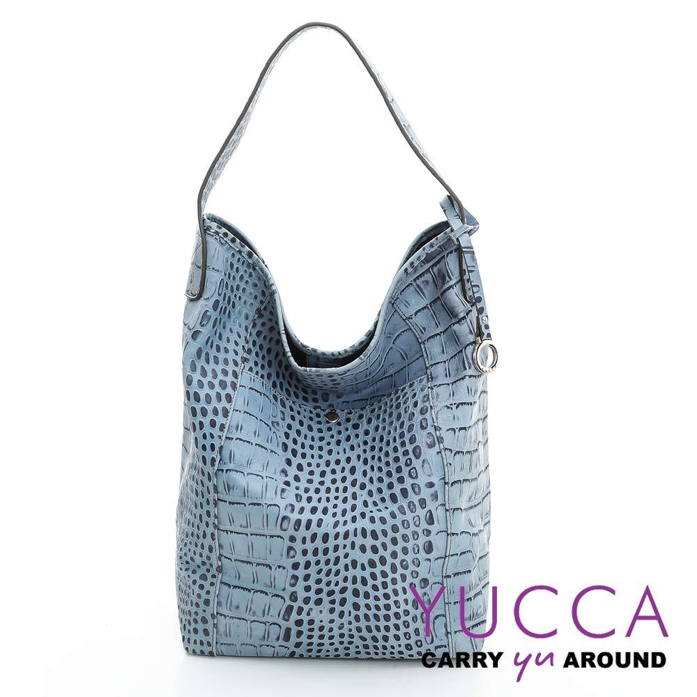 YUCCA -個性鱷魚紋牛皮水桶包 -牛仔藍- D0044078C56