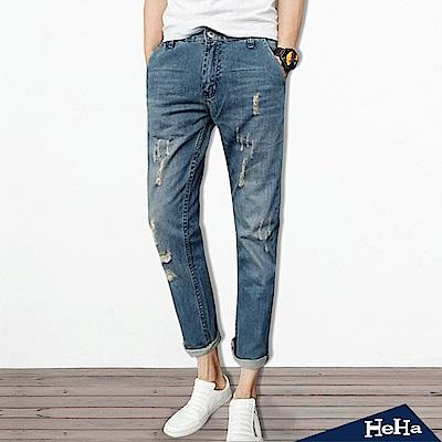長褲 牛仔刷破仿舊修身9分哈倫褲 藍色-HeHa