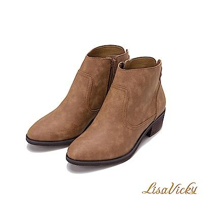 LisaVicky東岸牛仔個性金屬扣低跟短靴-紅泥色