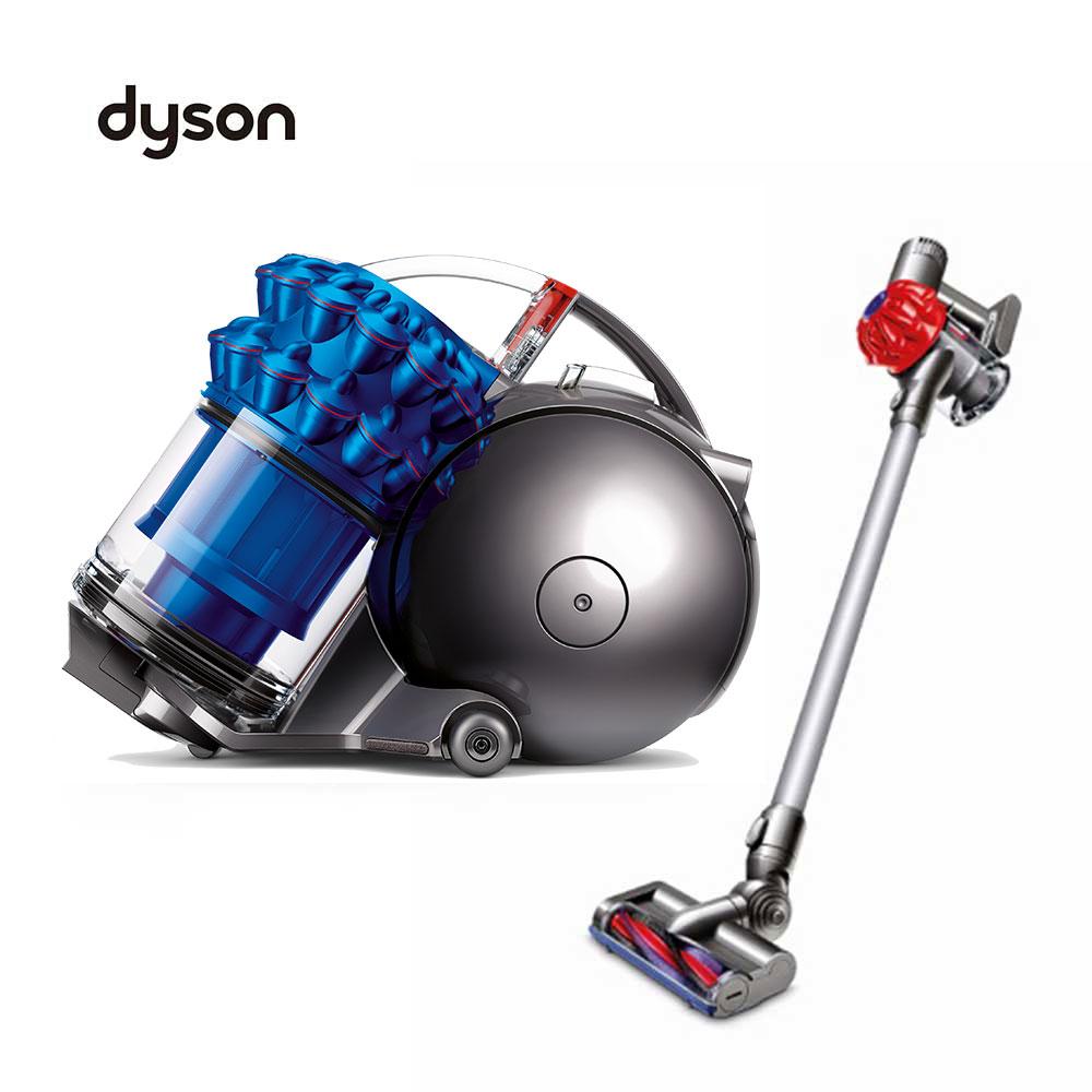【福利品組合】Dyson Ball fluffy 圓筒式吸塵器(藍) SV03紅手持吸塵器