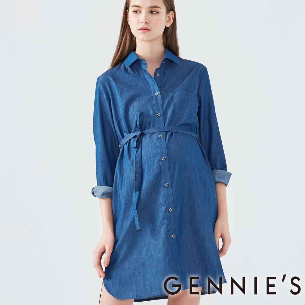 Gennies奇妮-長版綁帶牛仔襯衫-(T1F09-深藍)