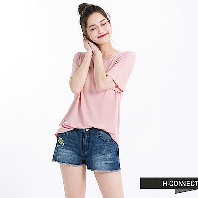 H:CONNECT 韓國品牌 女裝 -V領純色柔軟T-Shirt-粉