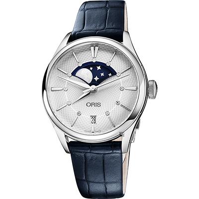 Oris 豪利時 Artelier 大視窗月相真鑽機械女錶-銀x藍/36mm