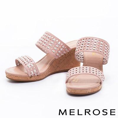 拖鞋-MELROSE-編織風寬版一字造型羊皮楔型高跟拖鞋-粉