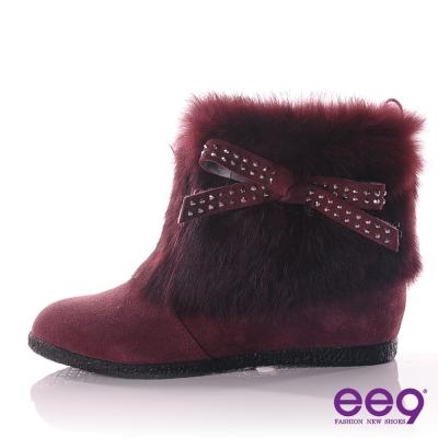 ee9 氣質甜氛~精緻柔軟兔毛蝴蝶結晶鑽內增高短靴 ~華麗紫