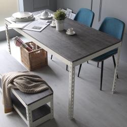 H&D 角鋼美學-工業風免鎖角鋼餐桌/工作桌-2色(152x76x75cm)