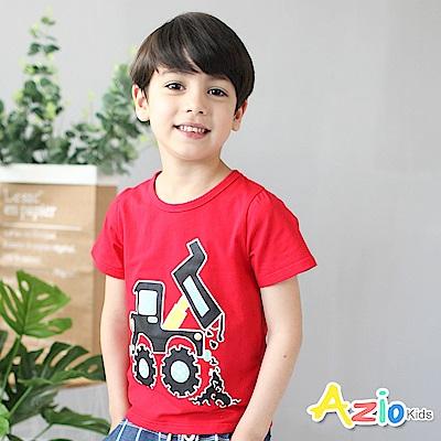 Azio Kids 童裝-上衣 車子印花短袖棉質T恤(紅)