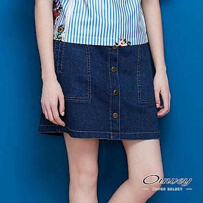 OUWEY歐薇 韓風簡約排釦牛仔裙(藍)-動態show