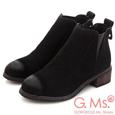 G.Ms. 擦色拼接鬆緊帶踝短靴-黑色