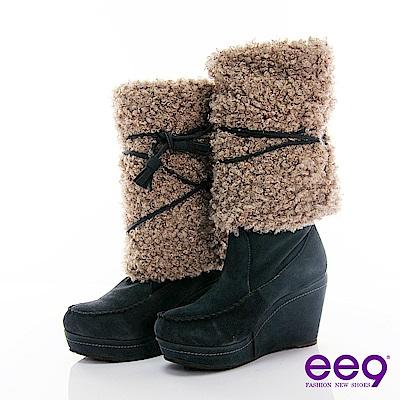 ee9百變多Way-經典皮草磨砂牛皮綁帶靴-典雅灰