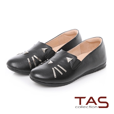 TAS 鉚釘貓咪造型真皮平底休閒鞋-實搭黑
