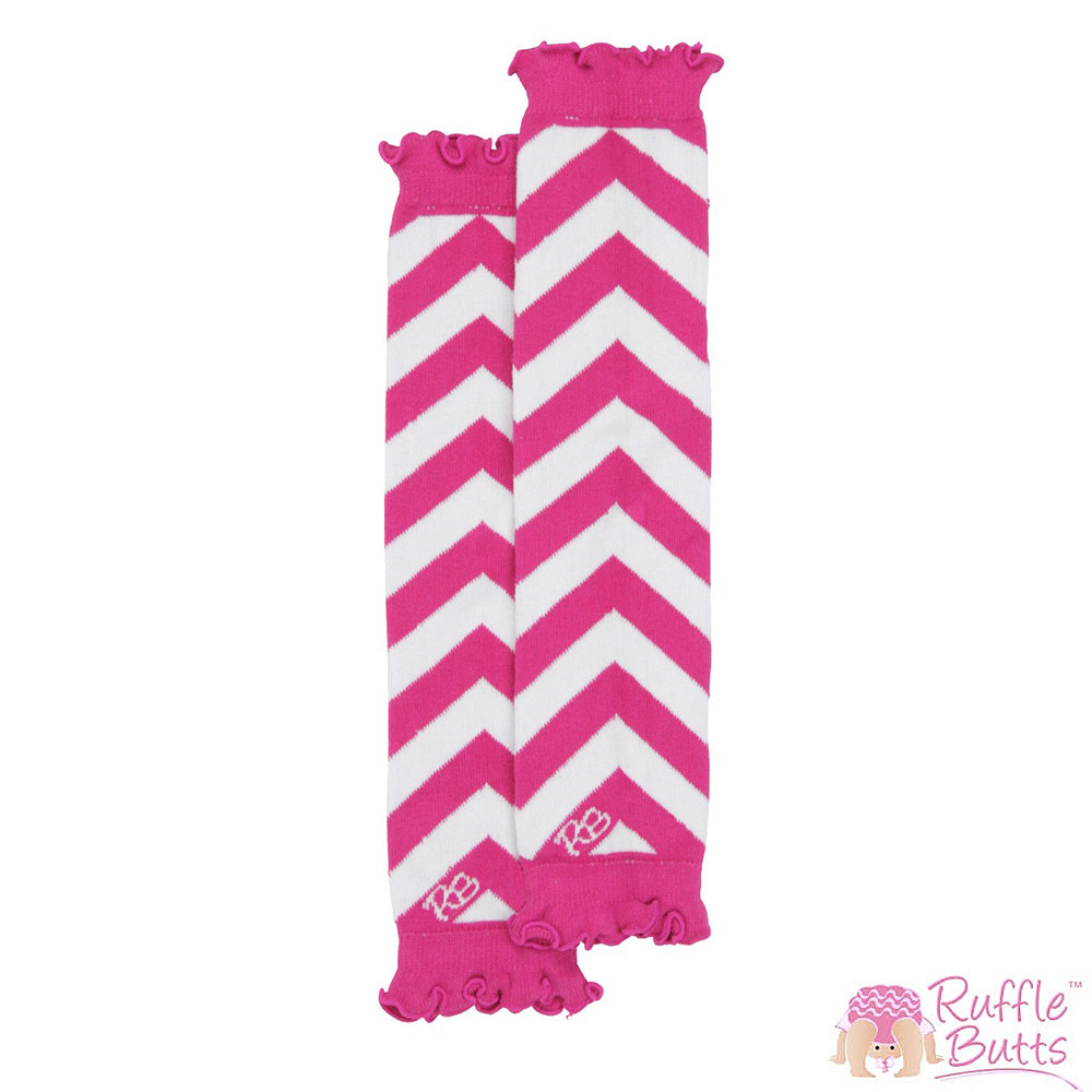 RuffleButts 小女童粉色荷葉邊橫條紋襪套