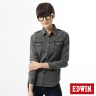 EDWIN經典雙口袋牛仔長袖襯衫-女-黑色
