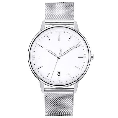 TYLOR 簡約質感米蘭帶手錶-白X銀/38mm