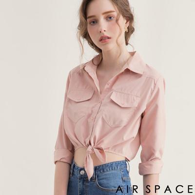 AIR SPACE 翻領綁帶設計短版襯衫(粉紅)