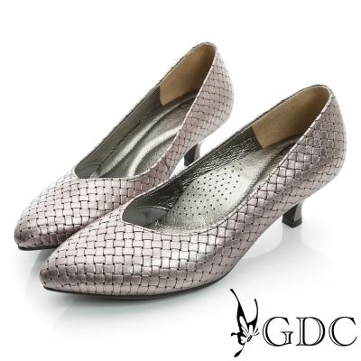 GDC都會-經典編織尖頭真皮低跟鞋-錫色