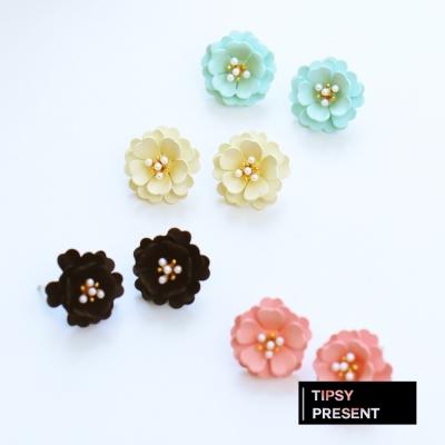 微醺禮物 耳環 正韓 925銀針 繽紛四色小花 針式 耳環