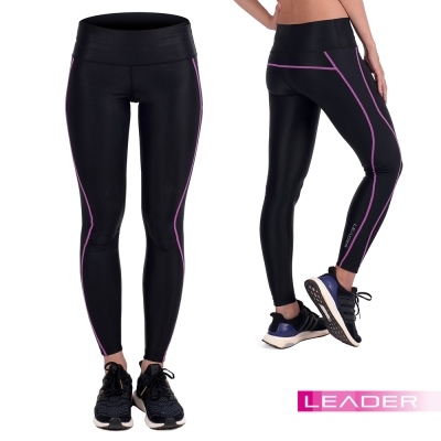 LEADER 女性專用 X-Fit運動壓縮寬腰緊身褲 長褲 紫線
