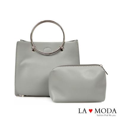 La Moda氣質滿點復古鐵環設計牛紋手提肩背斜背子母包(灰)