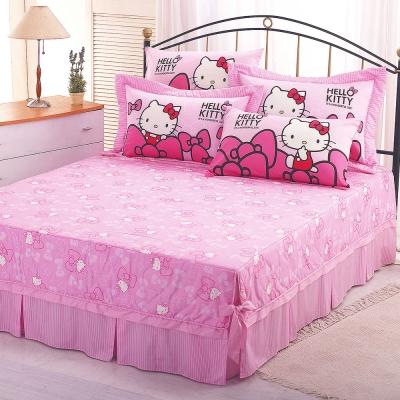 HELLO KITTY 蝴蝶結系列-精梳棉雙人枕套床包組
