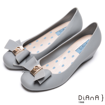 DIANA 漫步雲端雨滴款--甜美蝴蝶結果凍楔型雨鞋-霧感灰