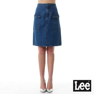 Lee 牛仔及膝短裙/RG-女款-藍