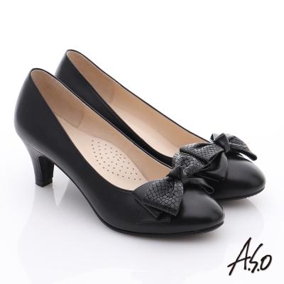 A.S.O 氣質名媛 全真皮雙蝴蝶結甜美高跟鞋 黑