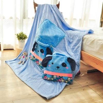 亞曼達Amanda 立體卡通兩用法萊絨抱枕毯子-開心狗