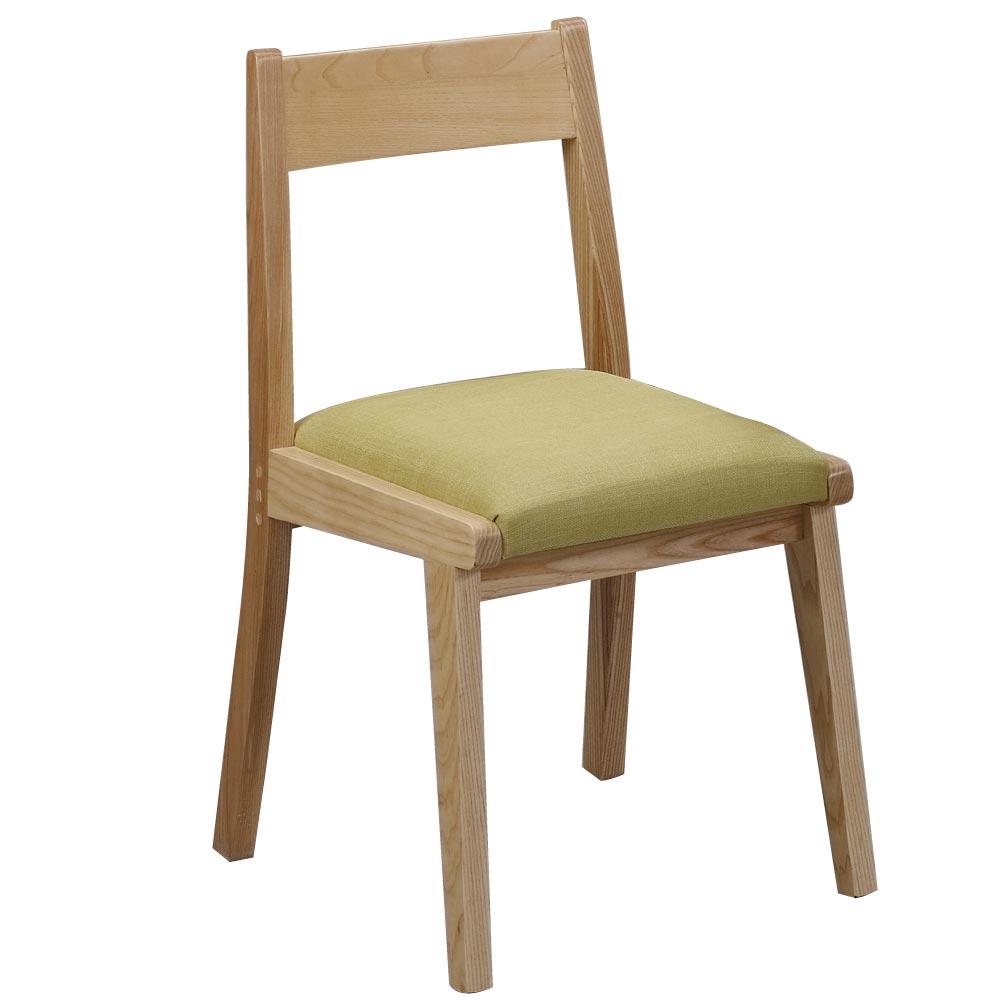 品家居 諾威原木色綠布實木餐椅