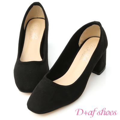 D+AF 秋氛時尚.素面絨料小方頭高跟鞋*黑