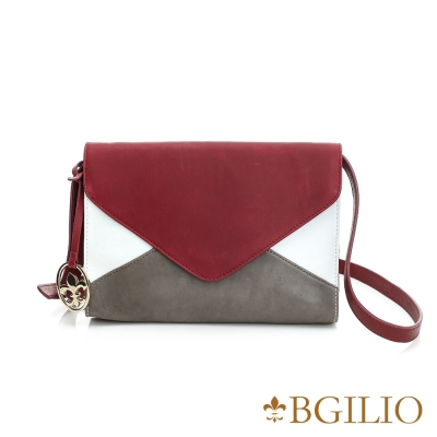 義大利BGilio-水洗羊皮氣質信封小包-棗紅色 1951.001A-01