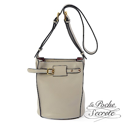 La Poche Secrete 水桶包 真皮皮釦水桶包-自信灰