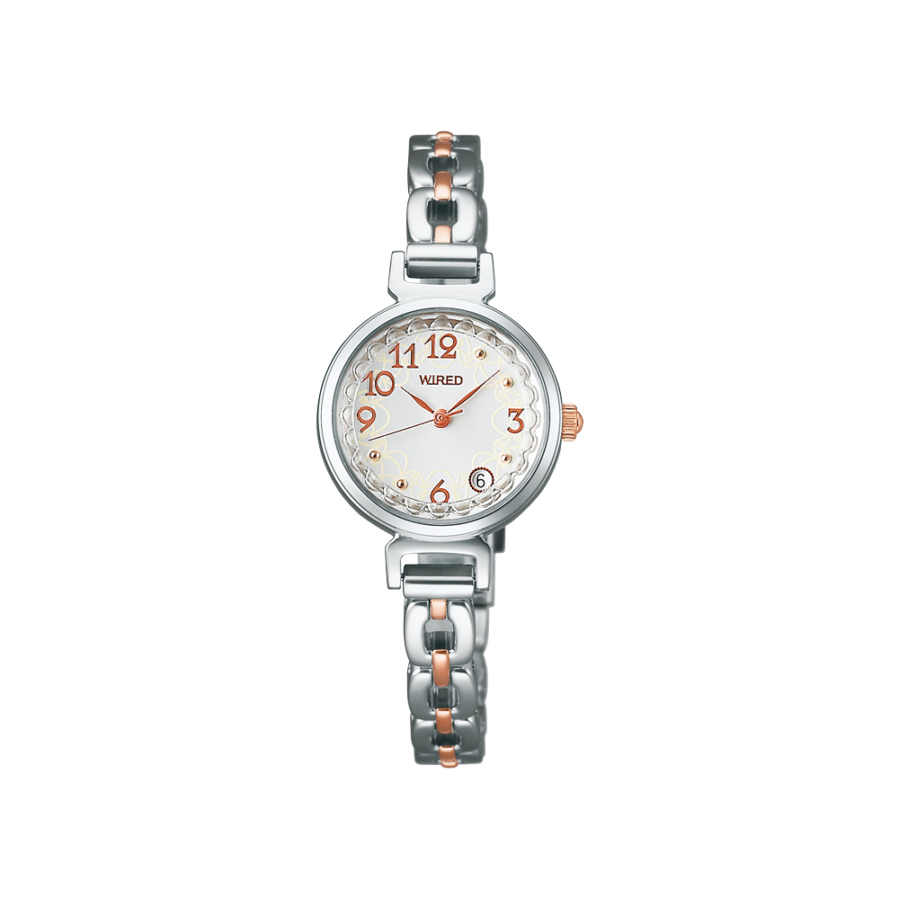 WIRED F 俏麗佳人甜美心 時尚女錶-銀x雙色版/24mm