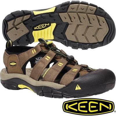 KEEN 男戶外護趾涼鞋NewPort H2-1016285咖啡/黃
