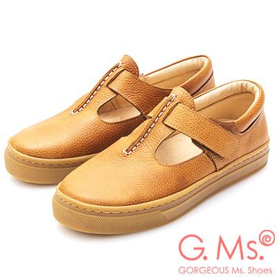 G-Ms-MIT系列-牛皮T字側黏休閒鞋-咖啡