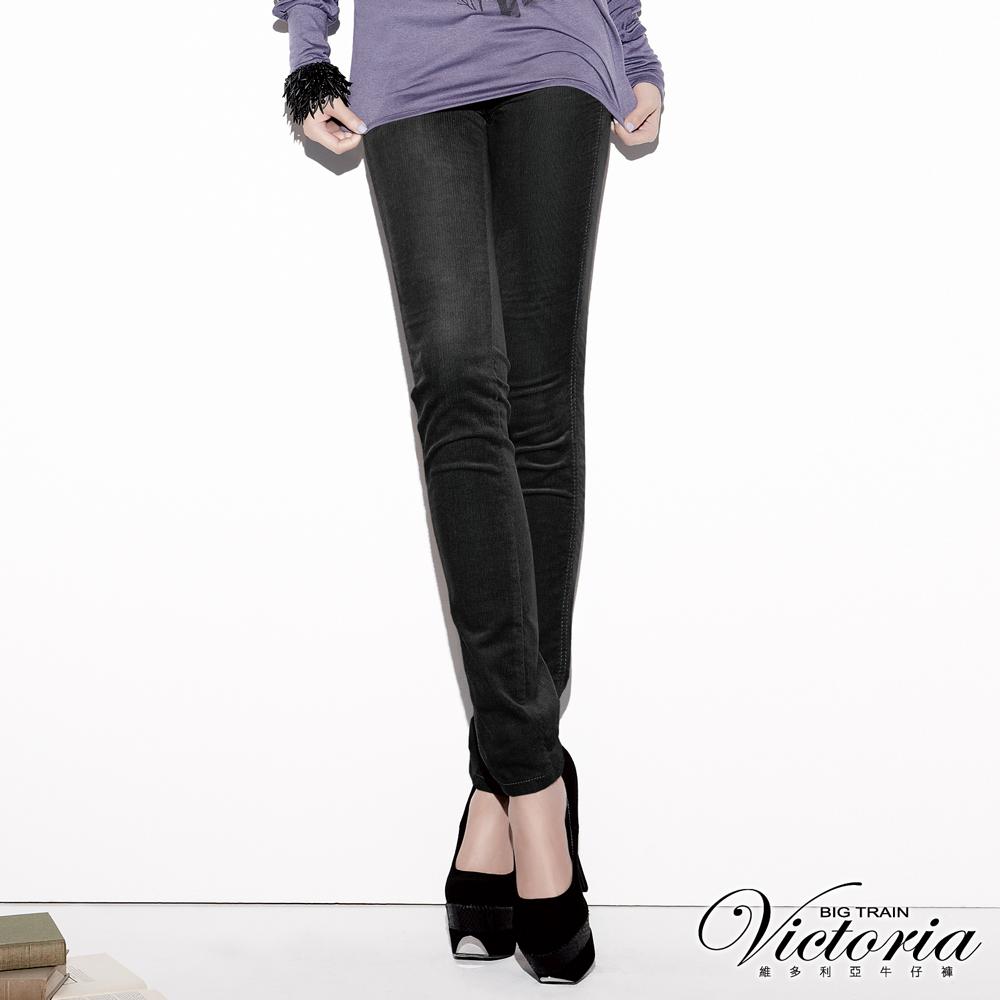Victoria 彈性燈芯絨窄直筒褲-女-深灰