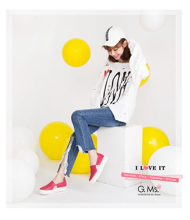 G.Ms. MIT系列-百搭Q彈牛皮素面顯瘦厚底懶人鞋-桃紅