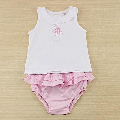 愛的世界 純棉瓢蟲花兩件式無袖套裝/6M~2歲