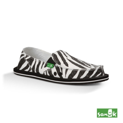 SANUK 經典斑馬印花懶人鞋-女款(黑白色)