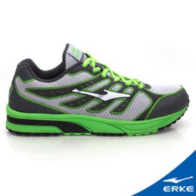 ERKE 鴻星爾克。男運動常規慢跑鞋-碳灰/草綠