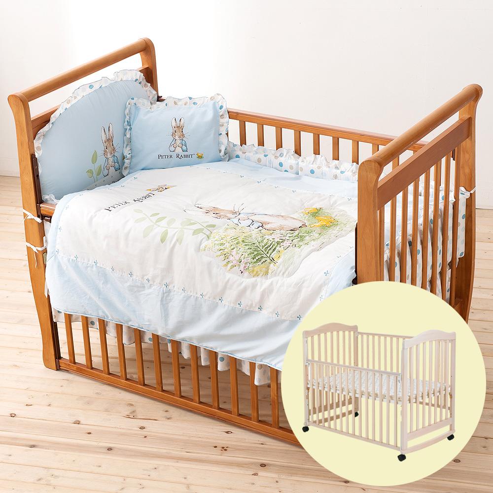 奇哥 白色大床+花園比得兔六件床組L-藍色