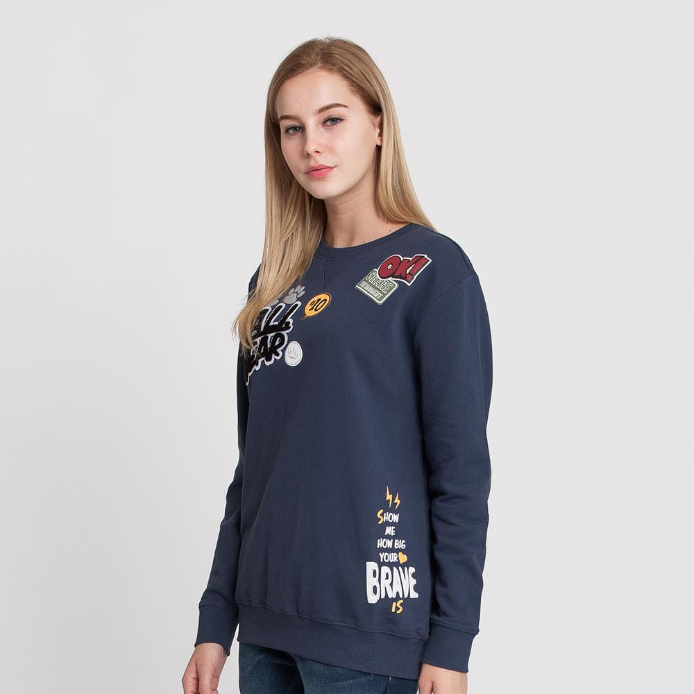 Hang Ten - 女裝 - 徽章拼貼縮口大學T - 藍