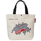 MONDAINE 瑞士國鐵火車地圖帆布肩背包-原色白